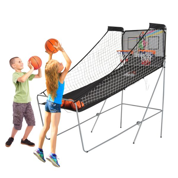 HOMCOM Double Shot Arcade Basketball Game Indoor Foldable Two Hoops Electronic System w/ 4 Ball|Aosom Canada