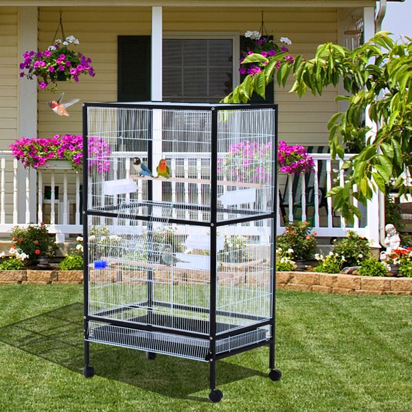 """PawHut Flight Cage 54""""H Bird Cage Parrot Macaw Finch Cockatoo Flight with Wheels 30x20.5x54-Inch Large Feeding Tray Stand Black/White 