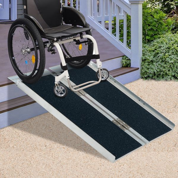 HOMCOM Portable Wheelchair Ramp Home Depot 4ft Foldable Aluminum Scooter Mobility Easy Access Carrier | Aosom Canada