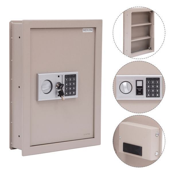 HOMCOM Flat Superior Electronic Hidden Wall Safe Box for Jewelry or Valuables Digital Lock Home Office Hotel Security Beige | Aosom Canada