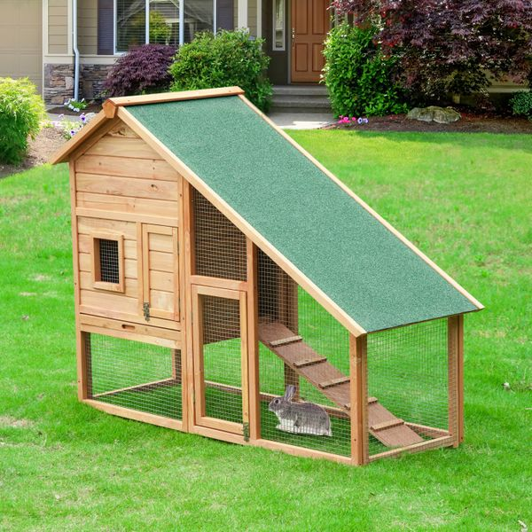 PawHut 58x25x47 Inches Rabbit Hutch Chicken Coop Wooden Poultry Hen House Small Animal Pet Cage with Outdoor Run and Ramp | Aosom Canada