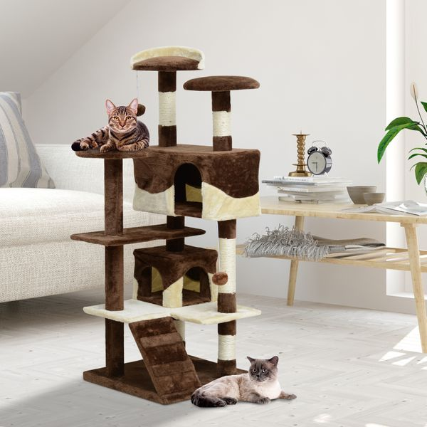 "PawHut 52"" Cat Scratching Tree Condo Large Kitten Play House Multi-Level Activity Center Pet Furniture Coffee