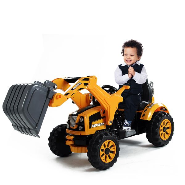 Aosom 6V Kids Electric Ride on Toy Excavator Construction Trunk with Digger Tractor Yellow|Aosom.ca