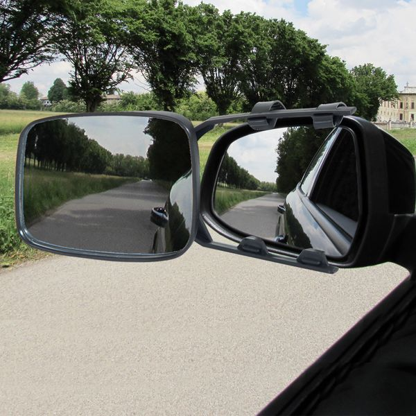 HOMCOM Set of 2 Universal Clip-on Towing Side Mirror Adjustable Extensions View Black|Aosom Canada