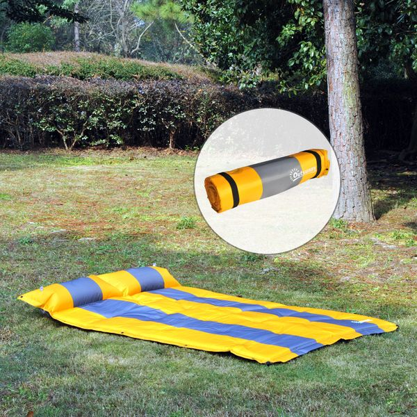 Outsunny 2 Person Self-inflating Air Mattress Sleep Bed Outdoor Camping w/Pillow | Aosom Canada