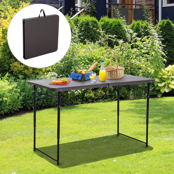Outsunny 4ft Outdoor Folding Camping Table Height Adjustable Garden Backyards Black and Coffee|Aosom.ca