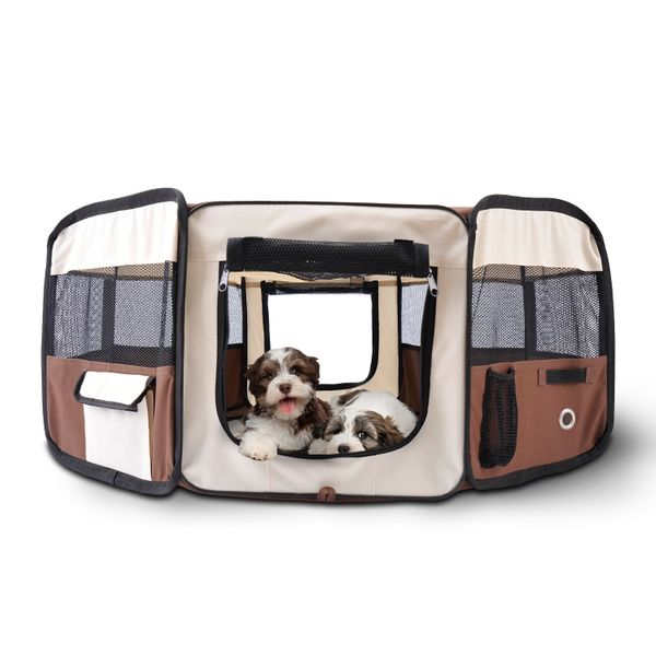 PawHut Zipper Sealed Bottom Portable Foldable Soft Pet Playpen Tent Dog Cat Puppy Exercise Kennel Crate with Carrying Bag Top with oxford and mesh for well air circulation and sunshade Coffee and Beige|Aosom Canada