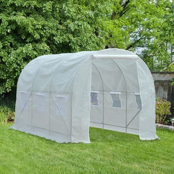 Outsunny 11.5'x6.6'x6.6' Walk-in Tunnel Greenhouse Portable Garden Plant Growing House with Door and Ventilation Window White | Aosom Canada