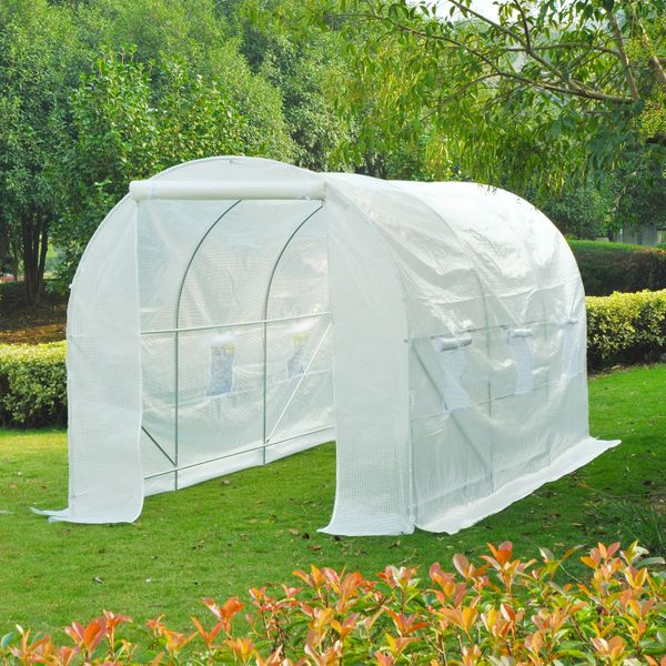 Outsunny 14.8'x6.6'x6.6' Walk-in Tunnel Greenhouse Portable Garden Plant Growing House with Door and Ventilation Window White|Aosom.ca