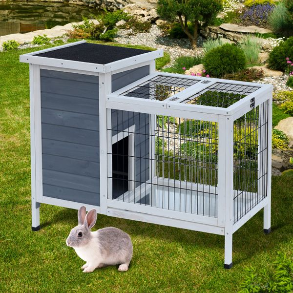 "PawHut 36""x22""x30"" Wooden Outdoor Rabbit Hutch Elevated Bunny Cage with Run Small Animal House Grey/White 