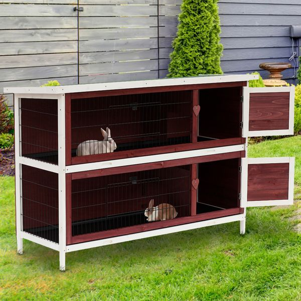 "PawHut Storage Large Elevated Wooden Rabbit Hutch 54""x20ᄀᄆx37ᄀᄆ 2  Yard Bunny Cage w/ Run and Tray 