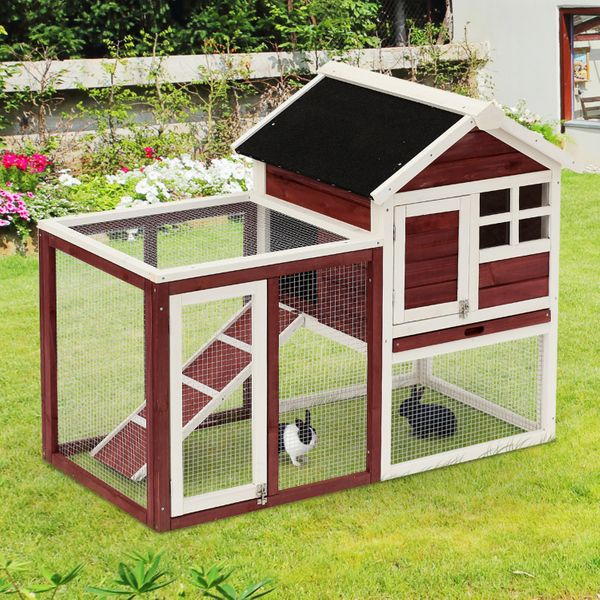 """PawHut Wooden Rabbit Hutch 48""""x25""""x36"""" Backyard Bunny Cage Small Animal House w/ Ladder and Outdoor Running Place Brown 