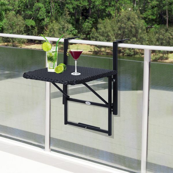 Outsunny Outdoor Folding Deck Rail Mounting Table Adjustable Balcony Hanging Railing Table Rattan Black|Aosom.ca