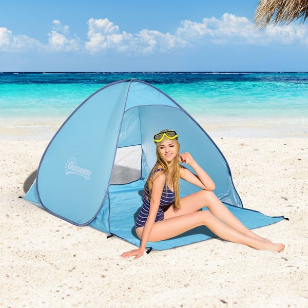 Outsunny Pop Up Beach Tent Portable Sun Shelter UV Protection Picnic Camping Tent with Carry Case & Stakes Blue|Aosom.ca