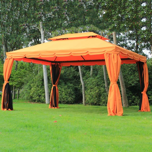 Outsunny 10x13ft Aluminum Frame Gazebo Canopy Double Tier Garden Sunshade Shelter with Netting and Curtains Orange |Aosom Canada