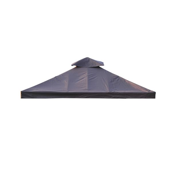 Outsunny 9.84'x9.84' Square 2 Tier Gazebo Canopy Replacement Water-resistant UV Protected Top Cover Garden Sun Shade Coffee | Aosom Canada
