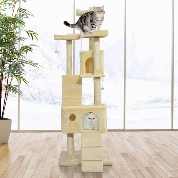 PawHut 71in Deluxe Multi-Level Scratching Cat Tree Play House with Two Condos and Toys Beige|Aosom.ca