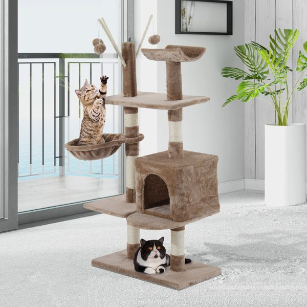 "PawHut 53"" Multi-Level Scratching Cat Tree Play House Kitten Activity Center Kitty Condo Scratcher with Two Condos and Toys Light Brown 