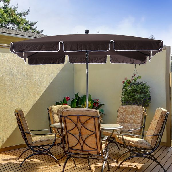 Outsunny 7x4ft Rectangular Aluminum Tilt Patio Umbrella Garden Parasol UV Protection Canopy Coffee|Aosom.ca