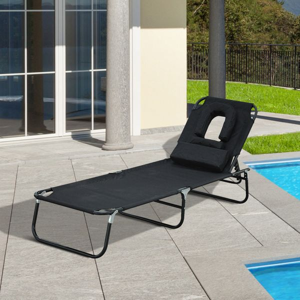 Outsunny Adjustable Chaise Lounge with Face Cavity Folding Outdoor Beach Camping Black|Aosom.ca
