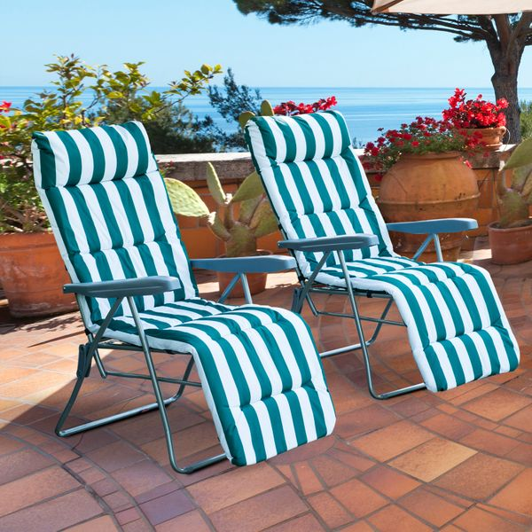 Outsunny Set of 2 Garden Patio Sun Lounger Adjustable Outdoor Recliner Foldable Cushioned Seat Green Stripes|Aosom.ca