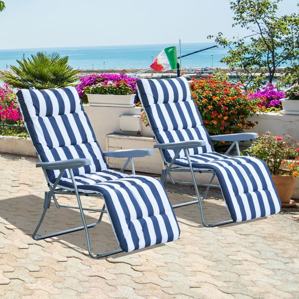 Outsunny Set of 2 Garden Patio Sun Lounger Adjustable Outdoor Recliner Foldable Cushioned Seat Blue Stripes|Aosom.ca