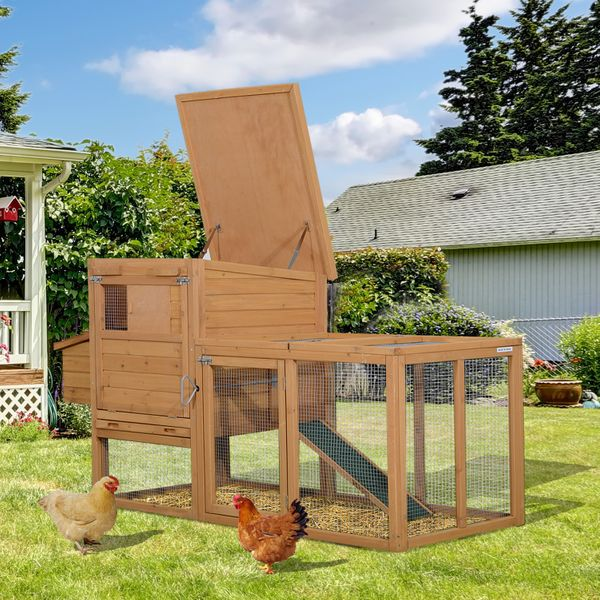PawHut 74x32x41inch Wooden Chicken Coop Garden Backyard Hen House with Outdoor Run Small Animal Poultry Pet Cage | Aosom Canada