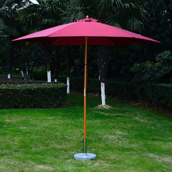 Outsunny 9 ft Patio Umbrella Wood Solar Sunshade - red wine | Aosom Canada