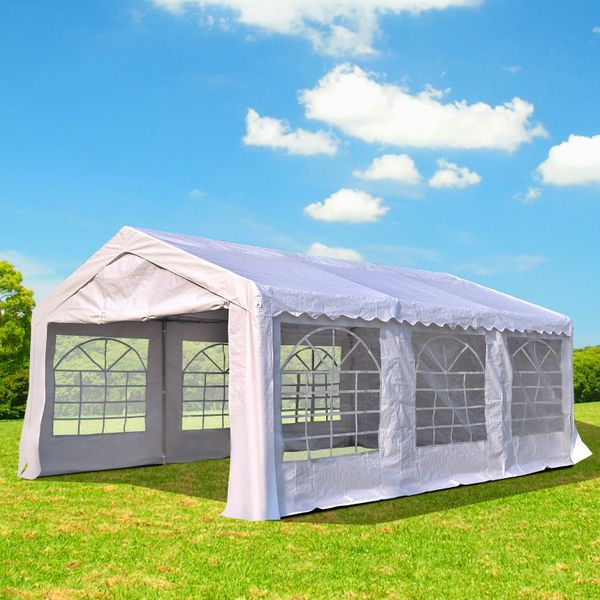 Outsunny Outdoor Party Tent 20x13ft Heavy Duty Carport Patio Wedding Event Tent Gazebo Canopy with Sidewalls White Garage Portable Garden Sun Shelter  Aosom Canada