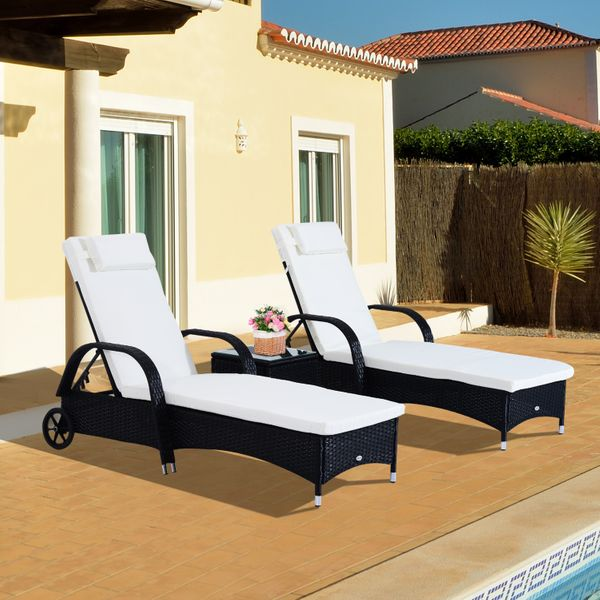 Outsunny 3pcs Wheeled Patio Rattan Lounge Set Wicker Garden Recliner Reclining Chaise Adjustable Portable with Side Table Black | Aosom Canada