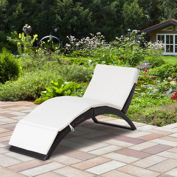 Outsunny Patio Wicker Lounger Recliner Bed Folding Outdoor Garden Chaise with Cushion | Aosom Canada