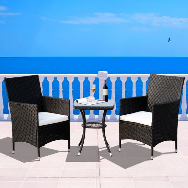 Outsunny 3pcs Rattan Coffee Set All Weather Table Wicker Bistro Patio Garden Furniture Black | Aosom Canada