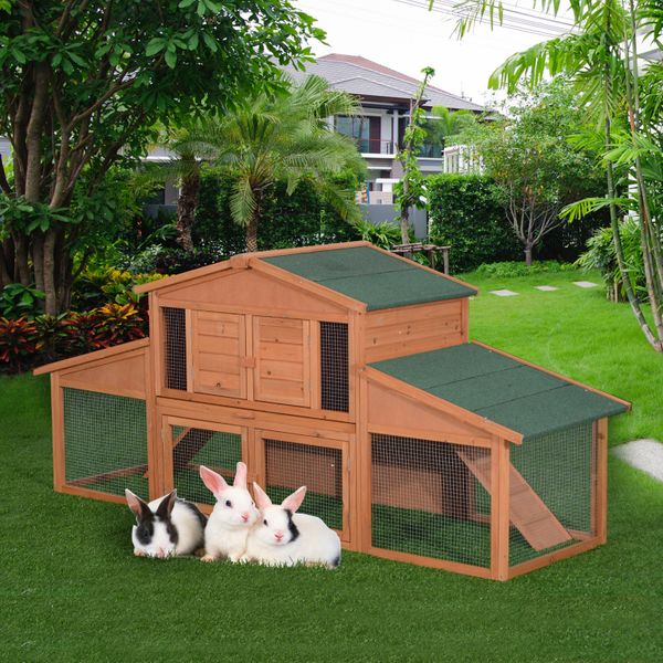 PawHut Deluxe Large Rabbit Hutch Small Animal House Portable Large Outdoor with Run Box|Aosom.ca