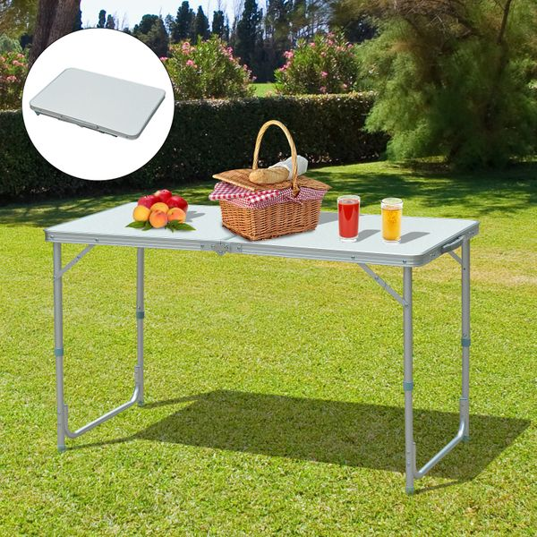 Outsunny 4ft Garden Camping Table Picnic BBQ Desk Adjustable Foldable with Carrying Handle Silver|Aosom.ca