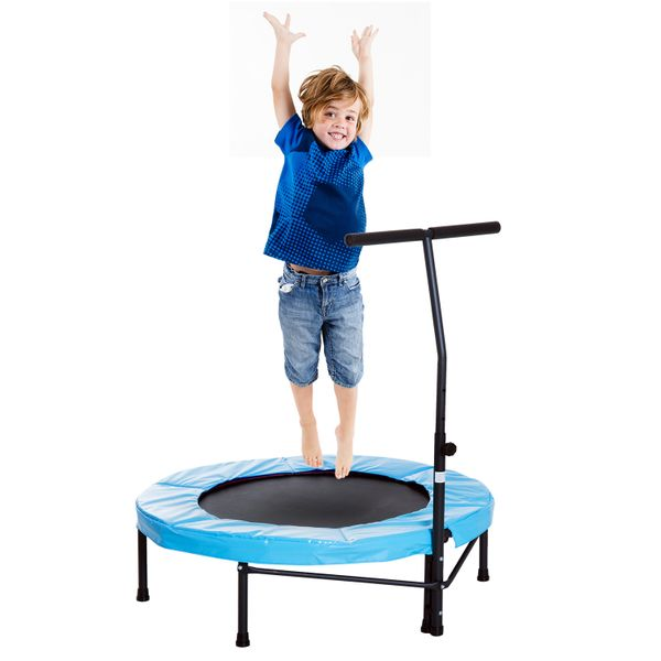 Soozier Mini Exercise Trampoline Indoor Fitness Rebounder w/ Adjustable Bar|Aosom.ca
