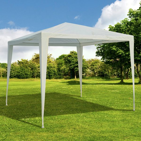 Outsunny 9x9ft Party Tent Outdoor Gazebo Canopy Portable Sunshade White|Aosom.ca