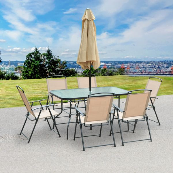 Outsunny 8pcs Garden Dining Set Outdoor Patio Furniture 6 Folding Chair 1 Table Backyard|Aosom.ca