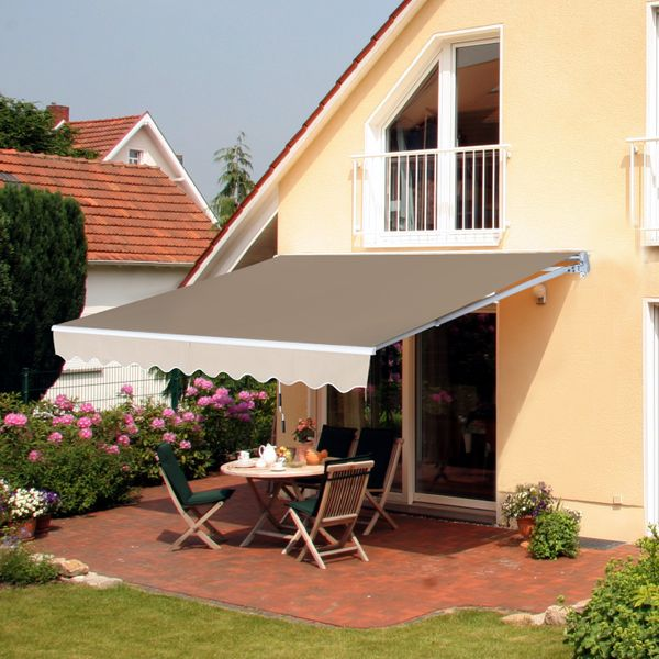 Outsunny 12x8ft Retractable Patio Awning Window Door Tan Manual Sunshade Shelter Deck Canopy Aluminum Frame |Aosom Canada