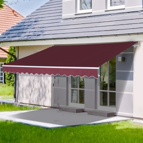 Outsunny 12x8ft Retractable Patio Awning Home Depot Window Door Aluminum Frame Manual Sunshade Shelter Deck Canopy Wine Red |Aosom Canada