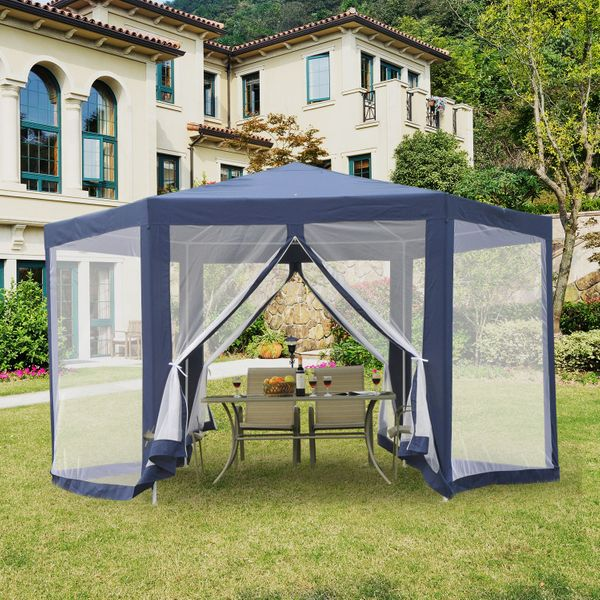Outsunny Φ13' Outdoor Hexagon Gazebo Party Tent Outdoor Canopy Garden Sunshade with Fully Enclosed Mesh Sidewalls Blue | Aosom Canada
