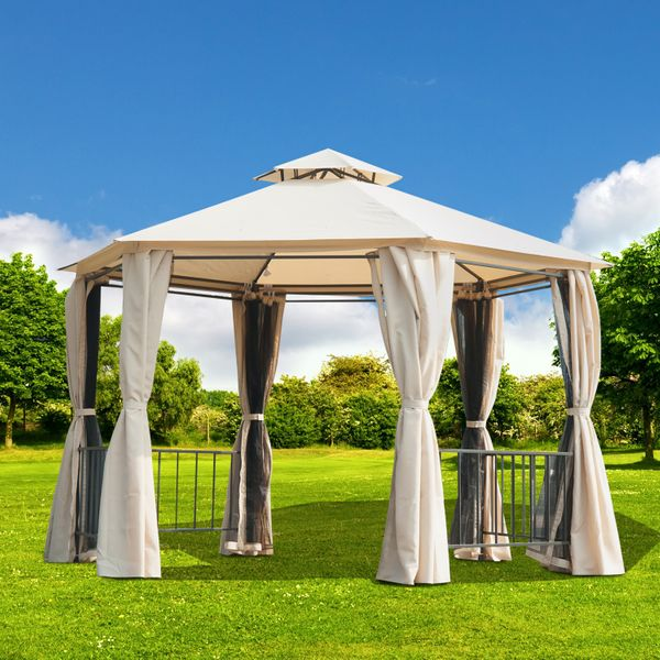 Outsunny 10x10ft Garden Gazebo Patio Hexagon Portable Canopy Double Tier Backyard Outdoor Shelter Sunshade with Mosquito Netting Beige | Aosom Canada