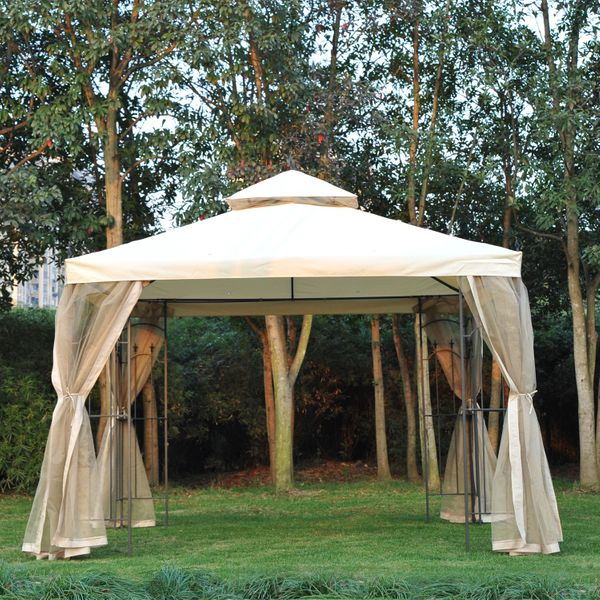 Outsunny 10'x10' Garden Gazebo w/ Mesh Curtain Double Top Canopy Outdoor Patio Event Party Tent Backyard Sun Shade Beige | Aosom Canada