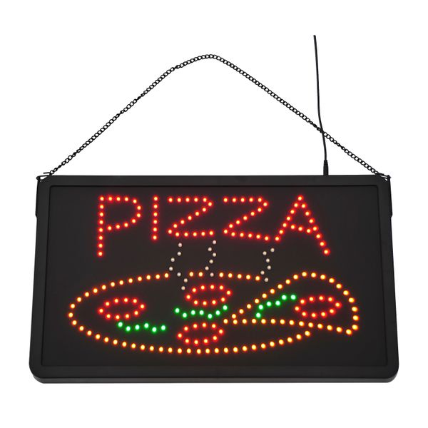 "LED ""Pizza"" Sign - 2 Flash Patterns - Black Board/Colourful Bulbs
