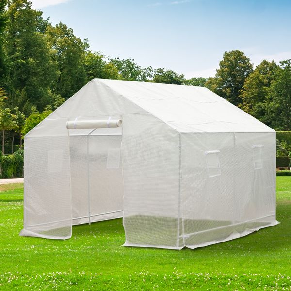 Outsunny 10x9.5x8ft Steeple Outdoor Walk-In Greenhouse Portable Garden Planting Warm House w/ PE Cover White | Aosom Canada
