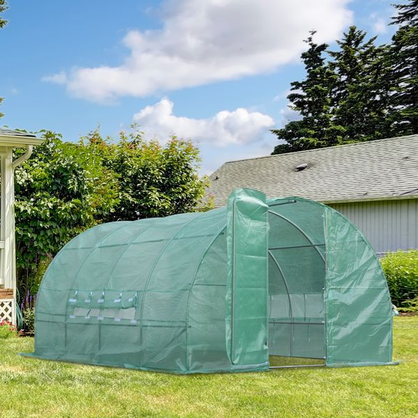 Outsunny 13x10x6.6ft Heavy Duty Outdoor Walk-in Greenhouse Portable Garden Planting Warm House with PE Cover Green|Aosom.ca