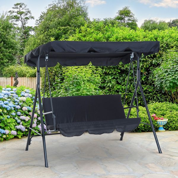 Outsunny 3 Seater Metal Frame Outdoor Patio Swing Hammock and Glider Canopy Garden Lounger Chair with Cushioned Black | Aosom Canada