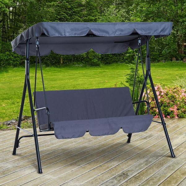 Outsunny 3 Seater Outdoor Patio Swing with Canopy Cushioned Garden Lounger Chair Hammock Metal Frame and Porch Glider Bed Seat Portable w/ Tile Grey |Aosom Canada