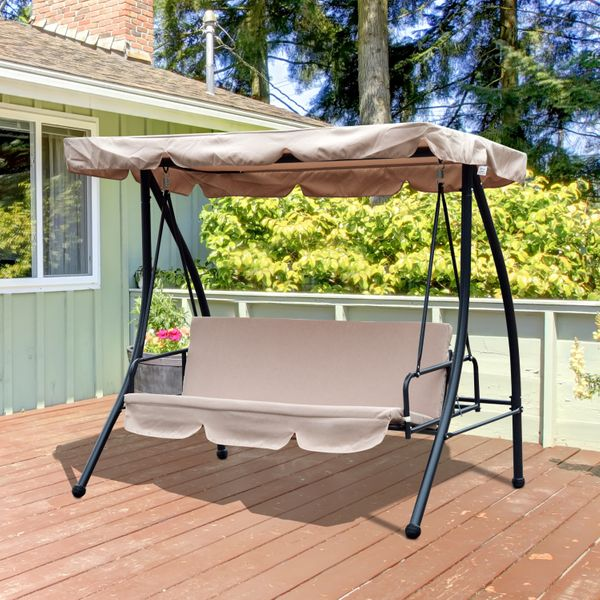 Outsunny Convertible Patio Swing Chair 3 Person Hammock Cushioned Portable Outdoor with Tilt Canopy Beige|Aosom.ca