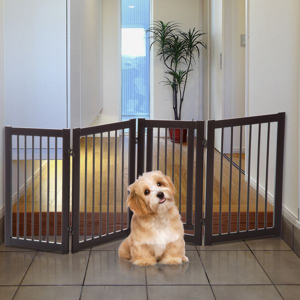 PawHut Free Standing Wooden Pet Gate Indoor Dog Barrier Foldable Step Over Doorway Fence Safety Gate with Open Door Z Shape 4 Panel|Aosom Canada