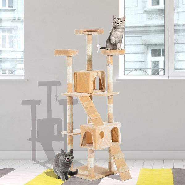 PawHut Multi-Level Cat Tree w/ Toy Scratching Post Tower 67-inch Kitty Activity Center Condo Pet Furniture Scratcher Beige | Aosom Canada